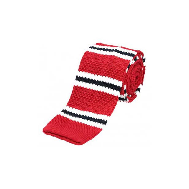 Red, White and Black Thin Knitted Polyester Tie