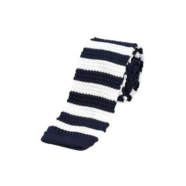 Navy and White Striped Thin Knitted Polyester Tie
