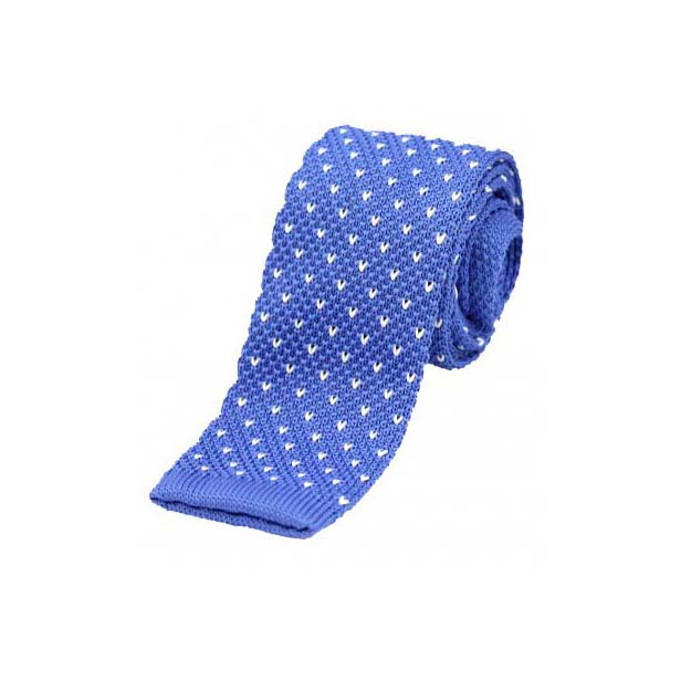 Mid Blue with White V pattern Thin Knitted Polyester Tie