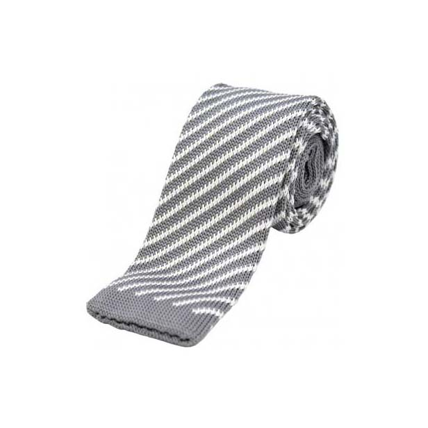 Grey and White Striped Knitted Polyester Tie