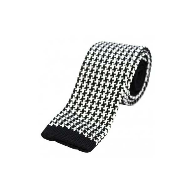 Black and White Dogtooth Pattern Knitted Polyester Tie