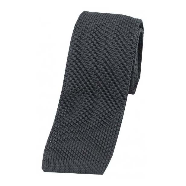 Slate Grey Knitted Polyester Tie