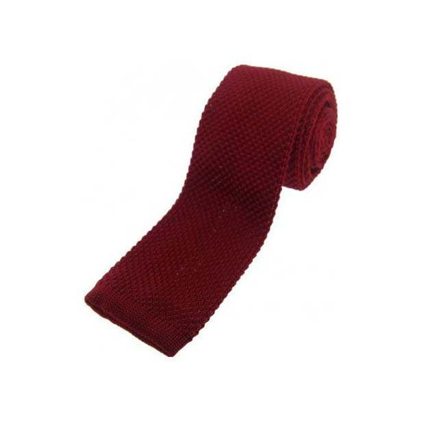 Burgundy Knitted Polyester Tie