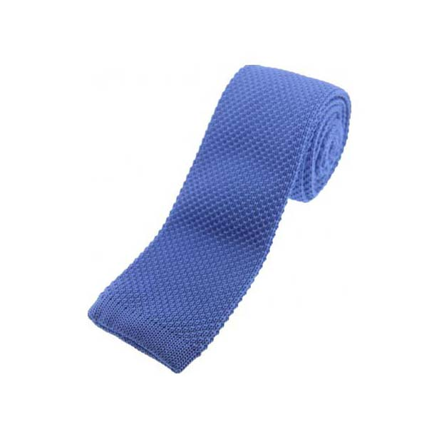 Blue Knitted Polyester Tie