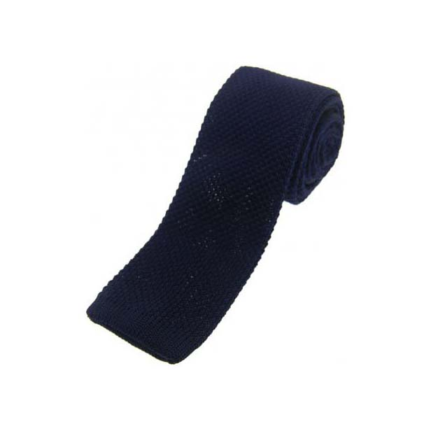 Navy Knitted Polyester Tie