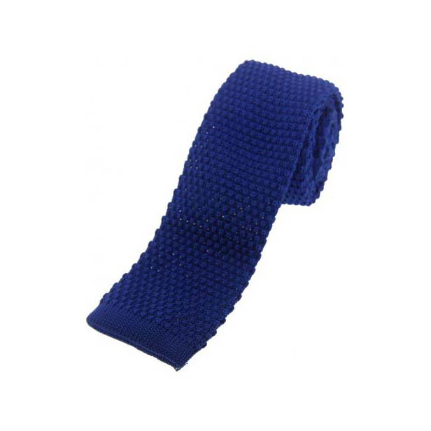 Royal Blue Knitted Polyester Tie