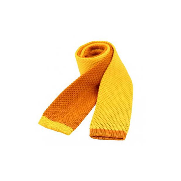 Two Tone Gold and Burnt Orange Thin Knitted Polyester Tie