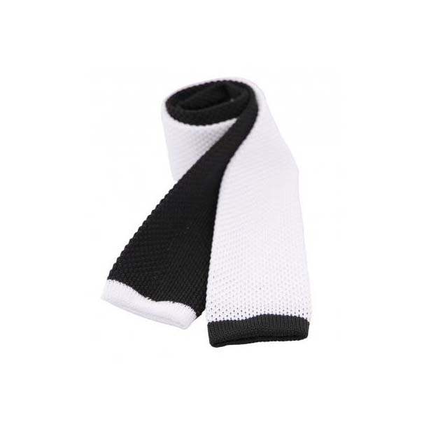 Two Tone Black and White Thin Knitted Polyester Tie