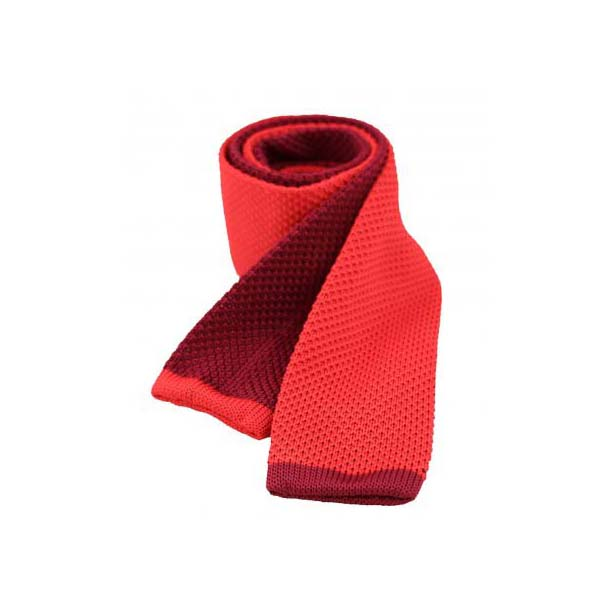 Two Tone Red and Wine Thin Knitted Polyester Tie
