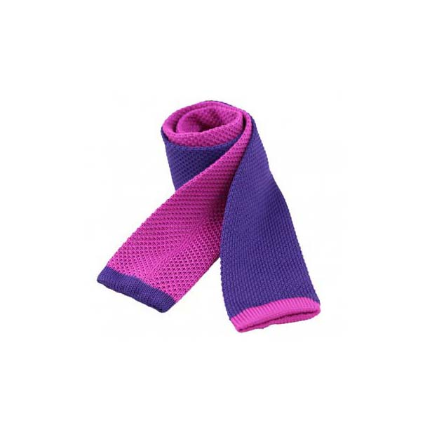 Two Tone Pink and Purple Thin Knitted Polyester Tie