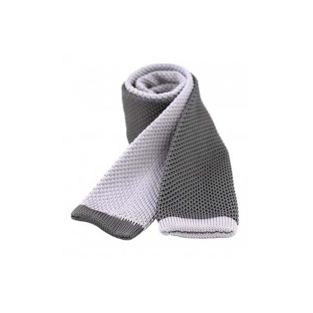 Two Tone Grey and Charcoal Thin Knitted Polyester Tie