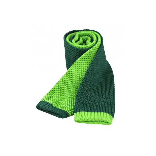 Two Tone Green and Lime Thin Knitted Polyester Tie