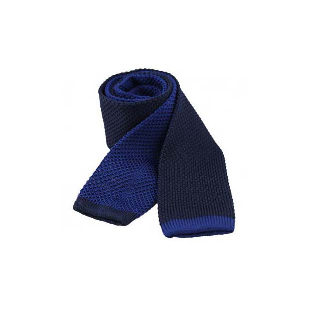 Two Tone Blue and Navy Thin Knitted Polyester Tie