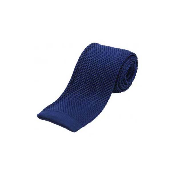 Plain Navy Knitted Silk Tie