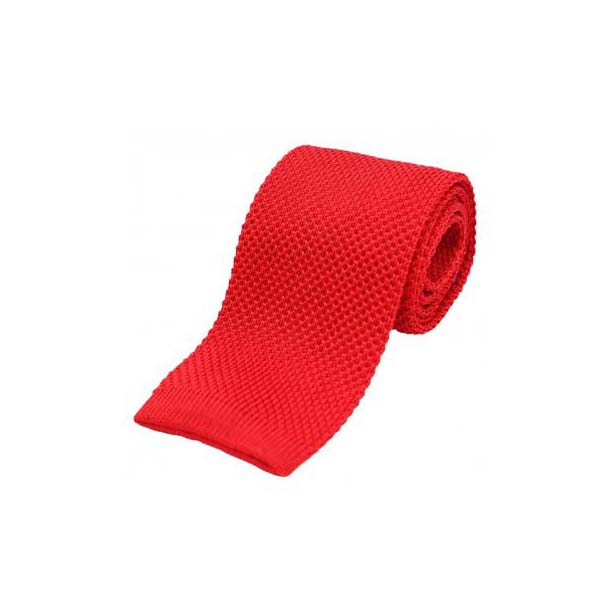 Letter Box Red Plain Knitted Silk Tie
