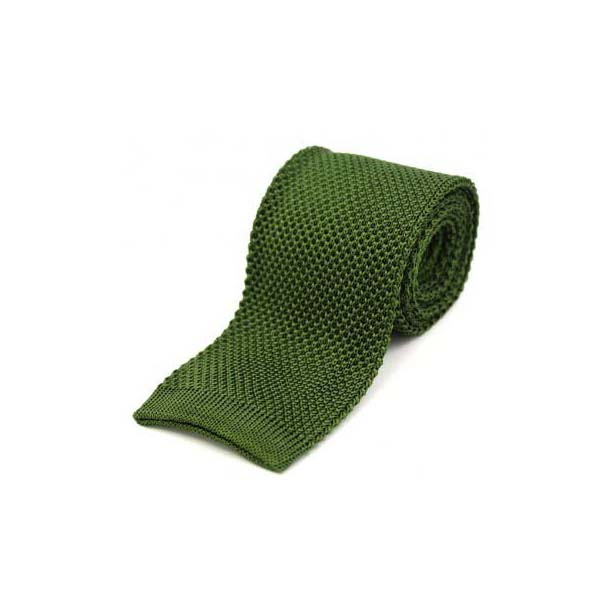 Country Green Plain Knitted Silk Tie