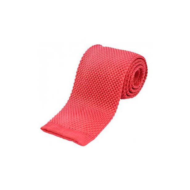 Coral Pink Plain Knitted Silk Tie