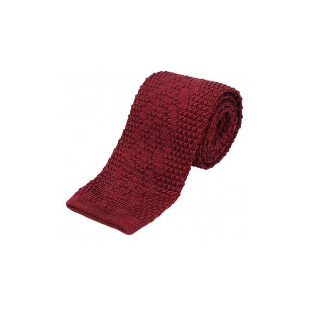 Wine Plain Knitted Silk Tie