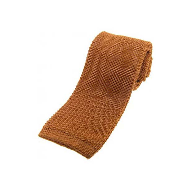 Burnt Orange Knitted Silk Tie