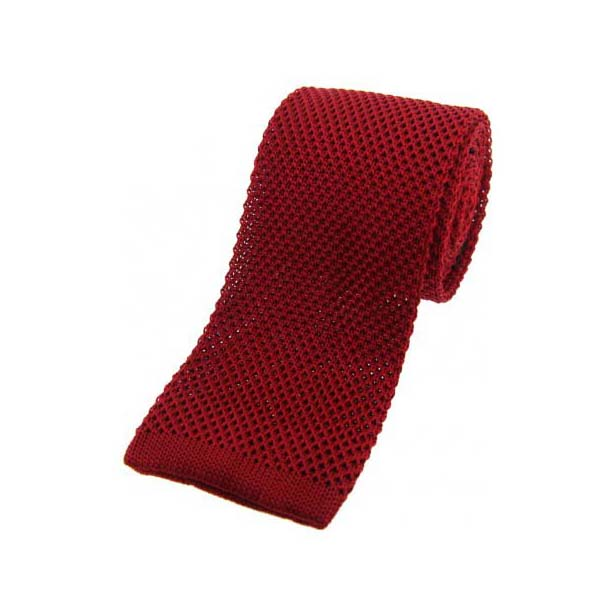 Red Knitted Silk Tie