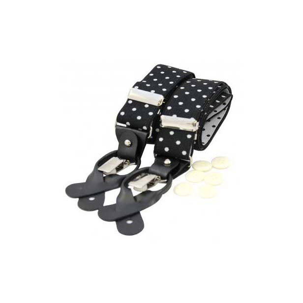 Black and White Polka Dot Leather End Braces