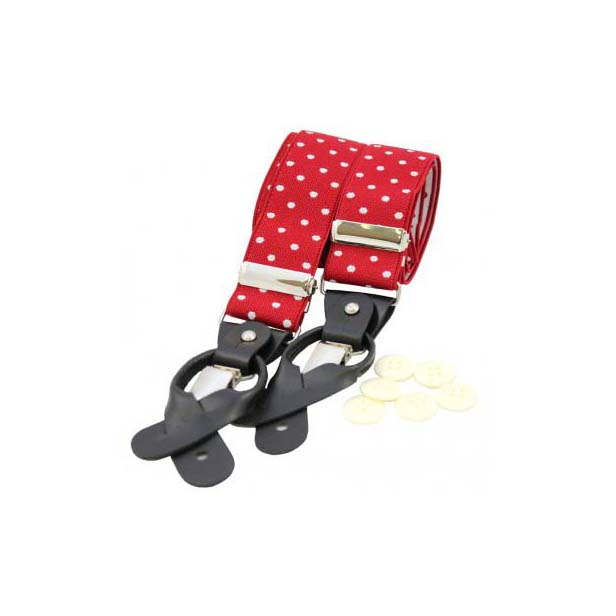 Red and White Polka Dot Leather End Braces