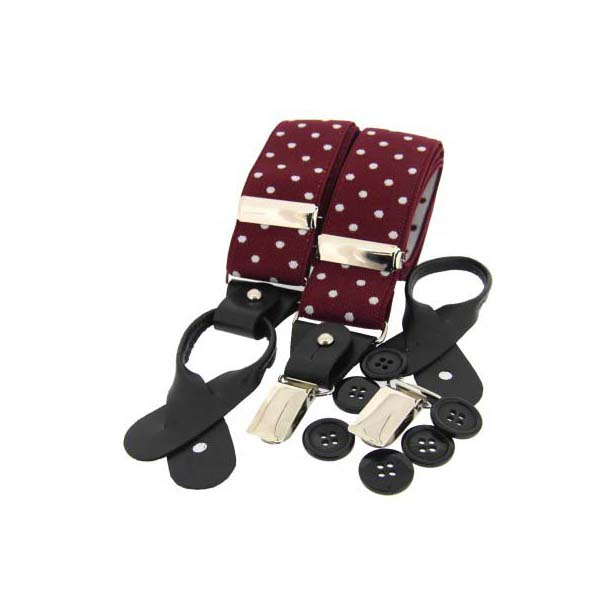 White and Wine Polka Dot Leather End Braces