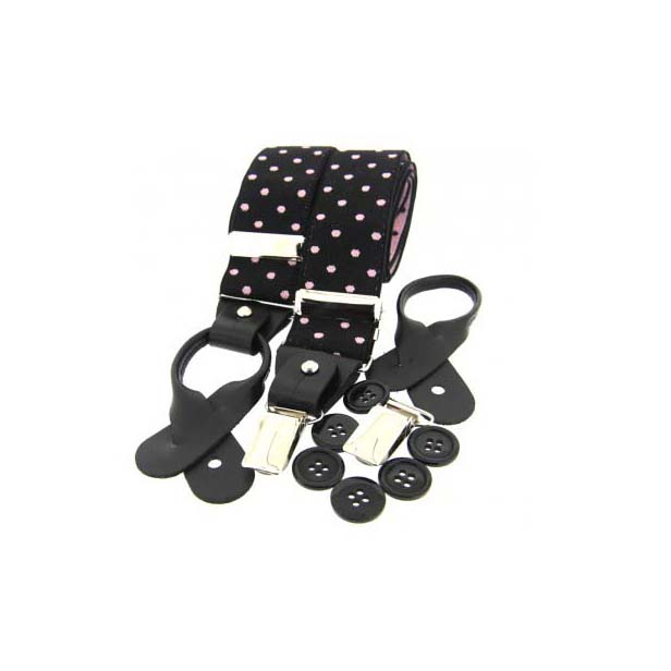 Pink and Black Polka Dot Leather End Braces