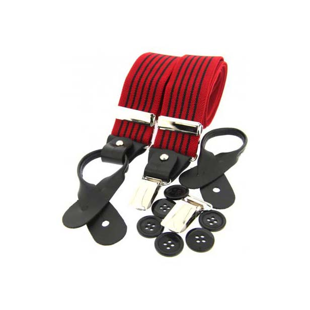 Black & Red Striped Leather End Braces