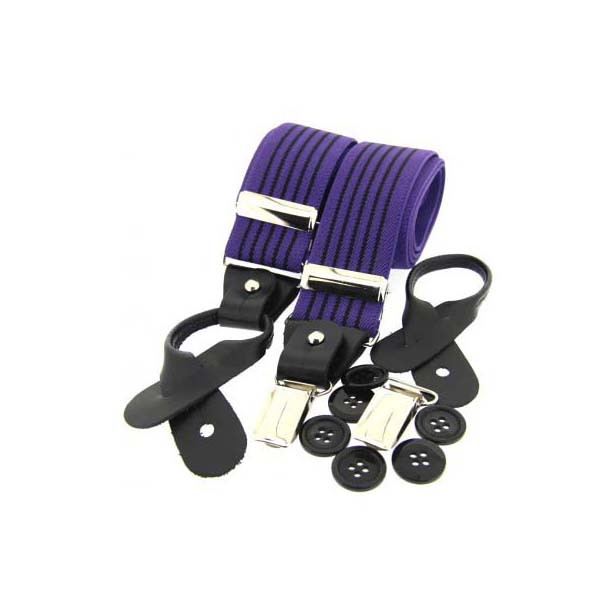 Purple and Black Striped Leather End Braces