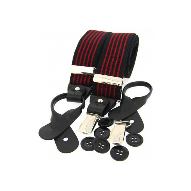 Red and Black Striped Leather End Braces