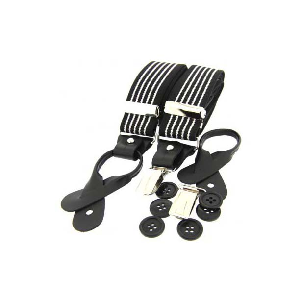 Black and White Striped Leather End Braces