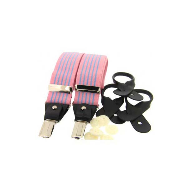 Pink and Sky Blue Striped Leather End Braces