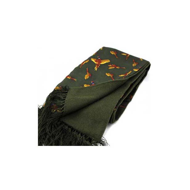 Flying Pheasants Green Silk with Wool Backing Scarf