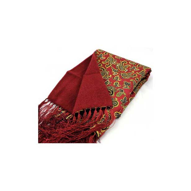Red Edwardian Paisley Silk with Wool Backing Scarf