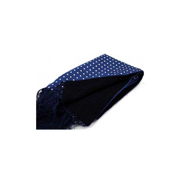 White Polka Dots on a navy Lambs Wool and Printed Silk Scarf
