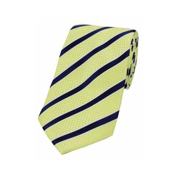 Blue Stripes on Lemon Yellow Polyester Tie