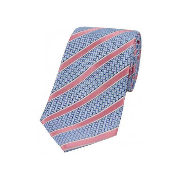 Pink Stripes on Metallic Silver Polyester Tie