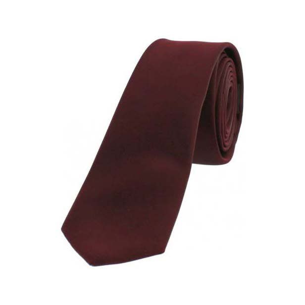 Wine Satin Polyester Thin Tie