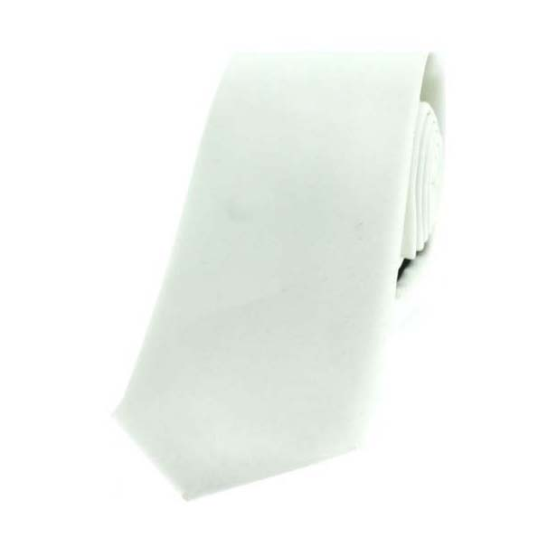 White Satin Polyester Thin Tie