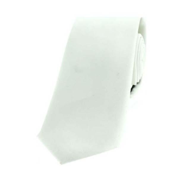 White Satin Polyester Thin Tie