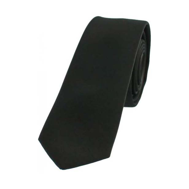 Black Satin Thin Polyester Tie