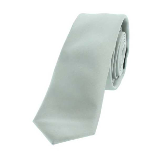 Silver Satin Polyester Thin Tie
