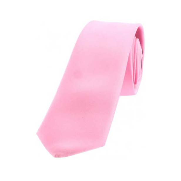 Pink Satin Polyester Thin Tie