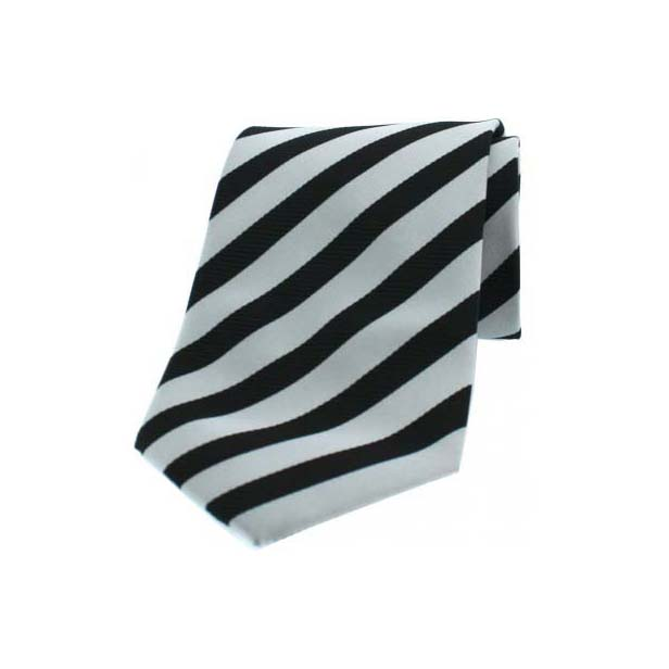 Grey and Black Striped Woven Polyester Tie