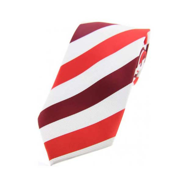 Red Stripes on White Polyester Tie