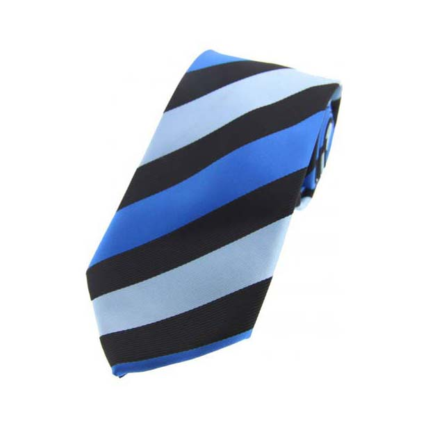 Blue Stripes on Black Polyester Tie