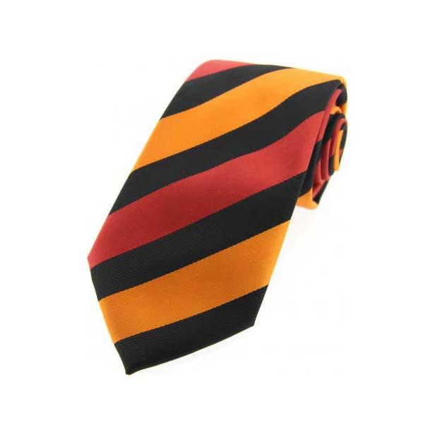 Orange Stripes on Black Polyester Tie