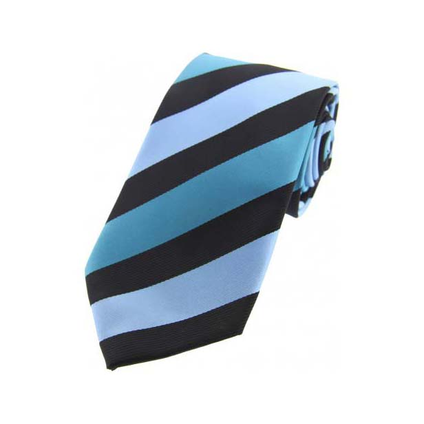 Cyan Stripes on Black Polyester Tie