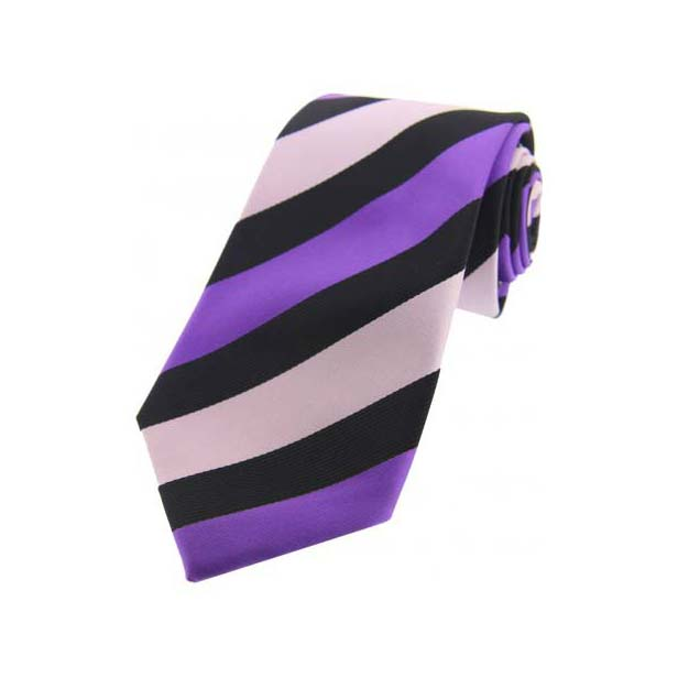 Purple and Pink Stripes on Black Polyester Tie
